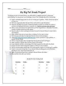 My Big Fat Greek Project Ancient Greece Unit Culminating Activities