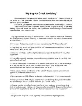 """My Big Fat Greek Wedding"" viewers' guide"