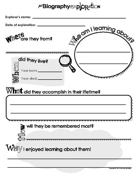 Biography Book Report Template Worksheets & Teaching ...