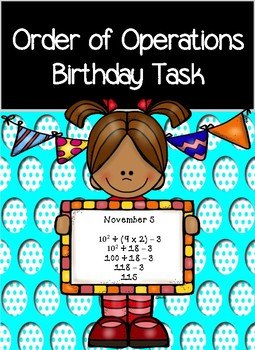 Order of Operations- My Birthday- Math Activity