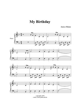 My Birthday for easy piano solo