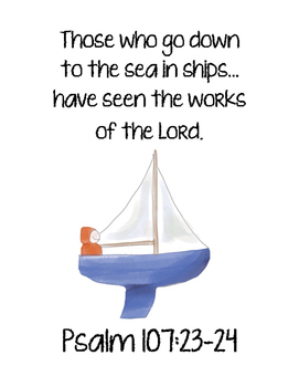 My Blue Boat Bible Verse Printable (Psalm 107:23-24)