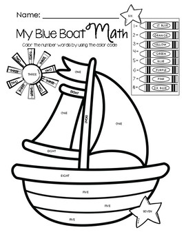 My Blue Boat Math - Color by Math Word