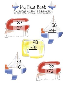 My Blue Boat Math - Double Digit Addition and Subtraction