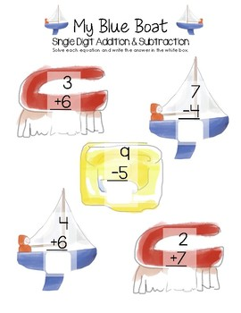 My Blue Boat Math - Single Digit Addition and Subtraction