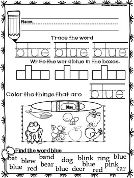 Color Books;Blue; Includes Worksheets;Cut/Paste Activity, Color Sort Center