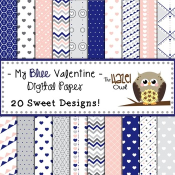 My Blue Valentine Digital Papers: Graphics for Teachers