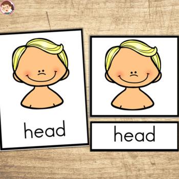 My Body 3 Part Cards ELA Activities Preschool Pre-K Kinder Autism