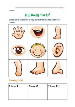 My Body Parts ESL Worksheet for Kids (Identify and Draw) by ...