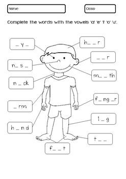 My Body Kindergarten Worksheets
