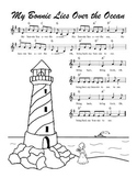 """My Bonnie Lies Over the Ocean"" Printable Song Sheet"