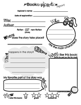My Book AND Biography Exploration Reports BUNDLE PACK (Template / Form)