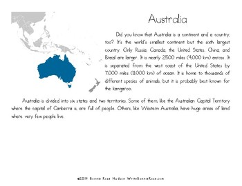 My Book About Australia with Print Copywork