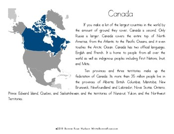 My Book About Canada with Cursive Copywork