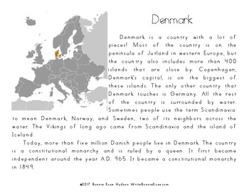 My Book About Denmark with Cursive Copywork