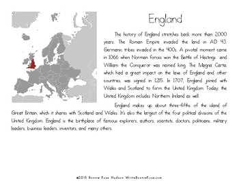 My Book About England with Cursive Copywork