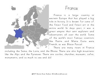My Book About France with Cursive Copywork