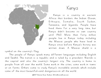 My Book About Kenya with Cursive Copywork
