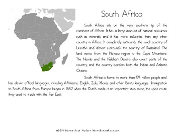 My Book About South Africa with Cursive Copywork