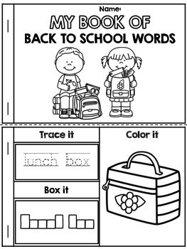 My Book of Back to School Words Words