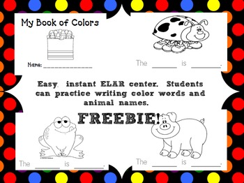 My Book of Colors (Writing/Emergent Reader)