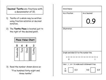 My Book of Tenths Hands-On Decimal Activity