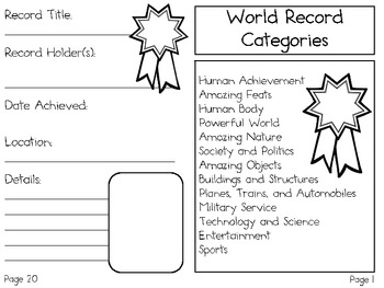 My Book of World Records ~ Research and Note-Taking Project