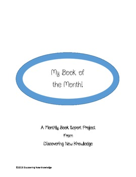 Literacy - My Book of the Month!  A Monthly Book Report Booklet