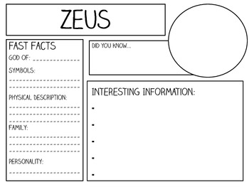 My Booklet of Greek Gods and Goddesses ~ Research & Writing