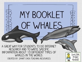 My Booklet of Whales ~ Research and Note-Taking Packet
