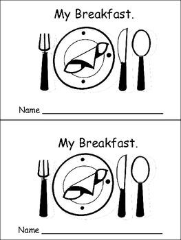 My Breakfast Emergent Reader- Preschool or Kindergarten