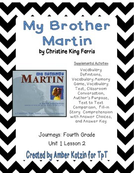 My Brother Martin Supplemental Activities 4th Grade Journe