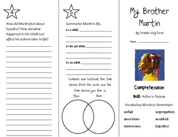 My Brother Martin Trifold - Treasures 4th Grade Unit 2 Week 2 (2011)
