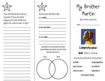My Brother Martin Trifold - Treasures 4th Grade Unit 3 Week 2 (2009)