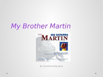 My Brother Martin by Christine King Farris Vocabulary, Comprehension Questions