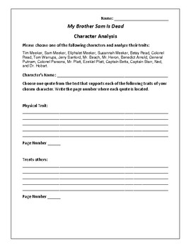My Brother Sam Is Dead - Character Analysis Activity - Collier & Collier
