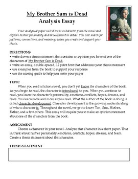 my brother sam is dead novel analysis essay by mz s english teacher my brother sam is dead novel analysis essay