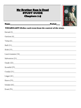 My Brother Sam is Dead Novel Chapter Study Guides