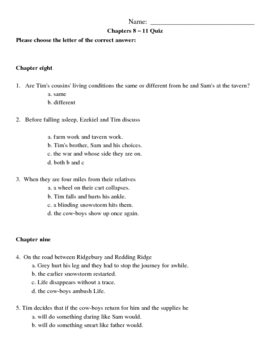 My Brother Sam is Dead Chapters 8-11 Quiz/Study Guide