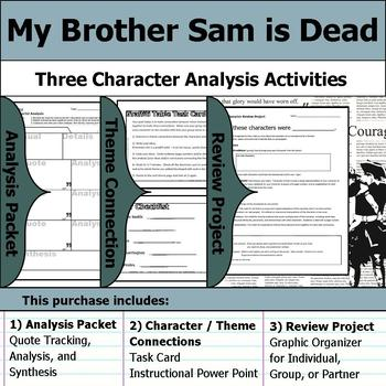 My Brother Sam is Dead - Character Analysis Packet, Theme Connections, & Project