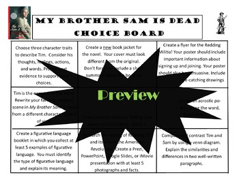 My Brother Sam is Dead Choice Board Tic Tac Toe Novel Activities Assessment