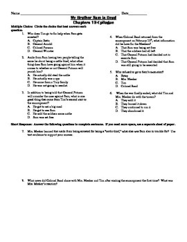 My Brother Sam is Dead Common Core Comprehension Test Chapters 13-Epilogue