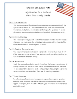 My Brother Sam is Dead- Final Test Study Guide