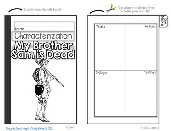 MY BROTHER SAM IS DEAD: INTERACTIVE NOTEBOOK CHARACTERIZATION MINI FLIP