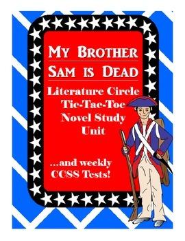 My Brother Sam is Dead Literature Circle Tic Tac Toe Novel