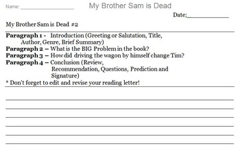 My Brother Sam is Dead Novel Assignment
