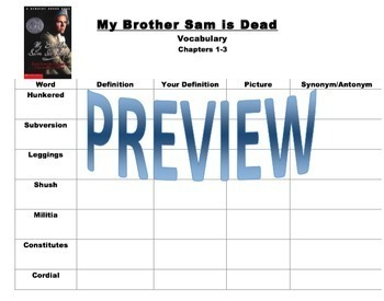 My Brother Sam is Dead Novel Unit Study