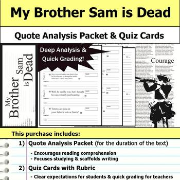 My Brother Sam is Dead - Quote Analysis & Reading Quizzes