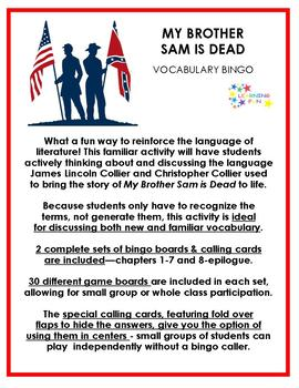 My Brother Sam is Dead Vocabulary Bingo