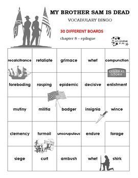 My Brother Sam is Dead Vocabulary Bingo